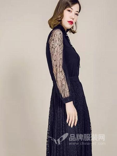 允硕女装2018秋季新款女装 蕾丝花纹百褶连衣裙套装