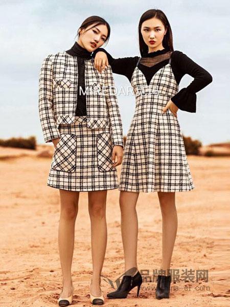 觅玛女装2018秋冬韩版圆领针织拼接假两件套时尚修身格子长袖连衣裙