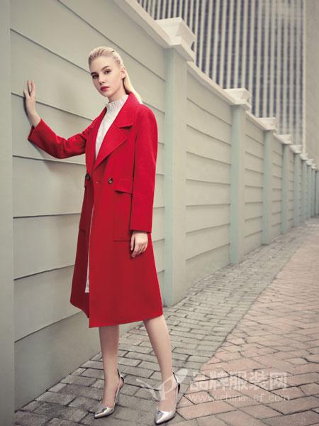 丹菲诗女装2018秋冬新款韩版双排扣中长款纯色修身毛呢外