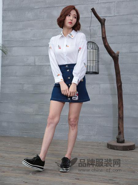 着秀女装女装2018秋冬新款韩版时尚宽松翻领绣花白衬衫女长袖女衬衫