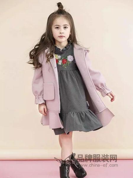 兔子杰罗童装2018秋季新款韩版女童连衣裙花朵刺绣公主裙宝宝儿童裙