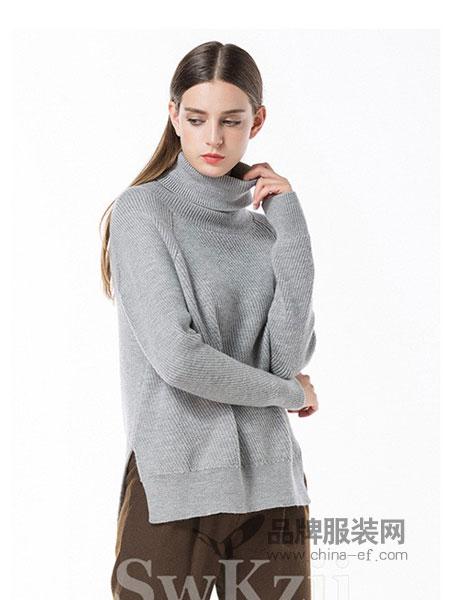 依洁思SwKzii女装2018秋冬新款打底衫套头羊毛衫修身针织衫开叉毛衣