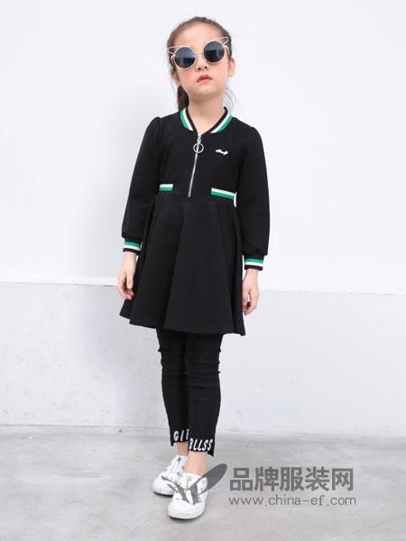 小马嘟嘟童装2018秋冬新款毛衣女童连衣裙