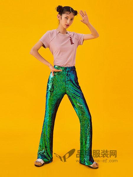 密扇女装2018春夏女侠系列蓝绿色幻彩亮片喇叭裤
