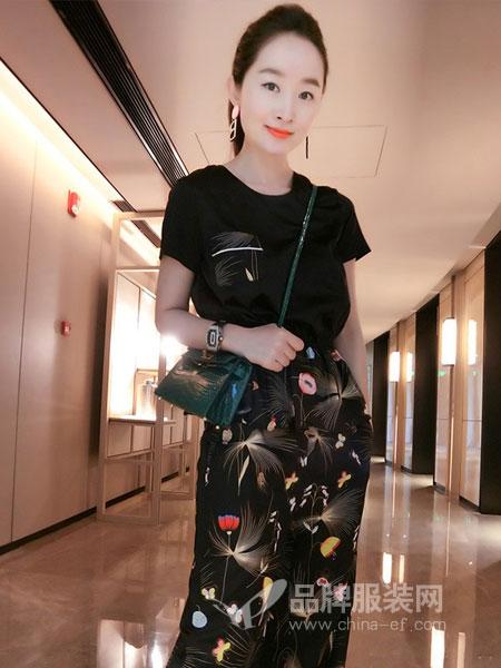 德●格乐丽雅女装2018春夏时尚黑色时尚口袋上衣印花休闲裤名媛套装两件套
