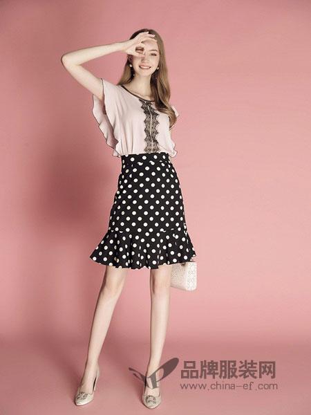缪可 - MIUCO女装2018春夏雪纺衫洋气上衣+黑白波点鱼尾裙网红两件套装