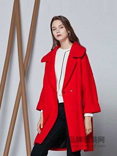 摩萨克MichelleMoissac女装2018秋冬新款女装红色翻领中长款大衣