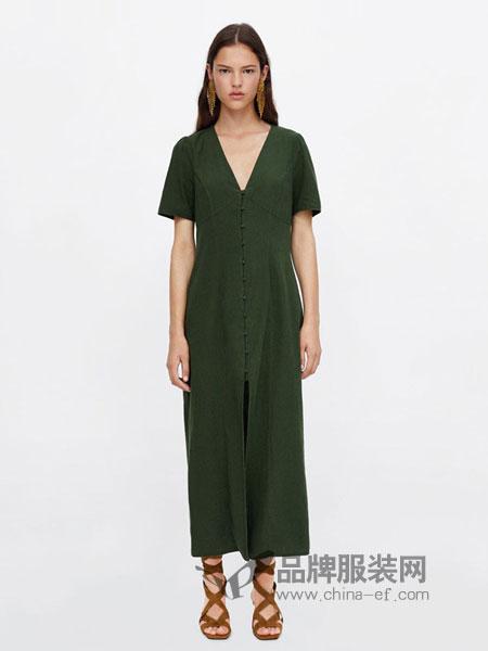 飒拉女装2018春夏显瘦修身短袖雪纺纯色连衣裙