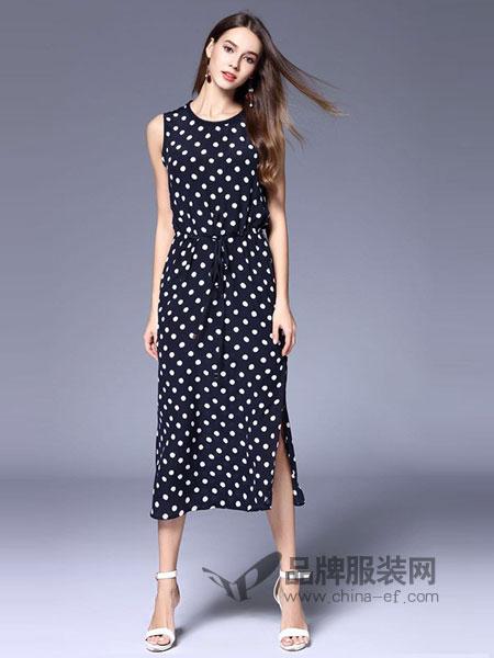 丹佛蒂欧 dovnertio女装不规则木耳边抽绳系带收腰无袖波点连衣裙