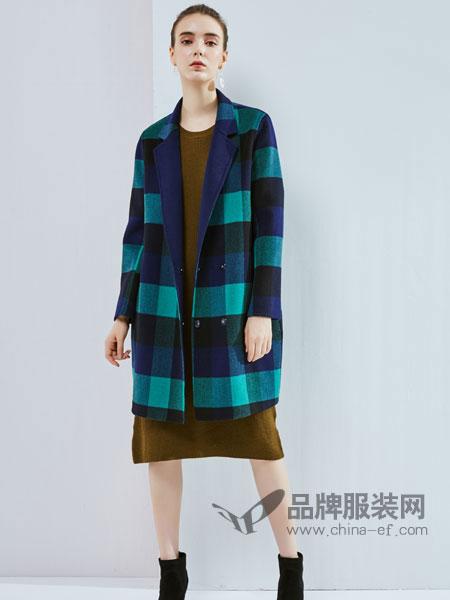 丹佛蒂欧 dovnertio女装新品女装中长款西装领格子双面羊毛呢外套