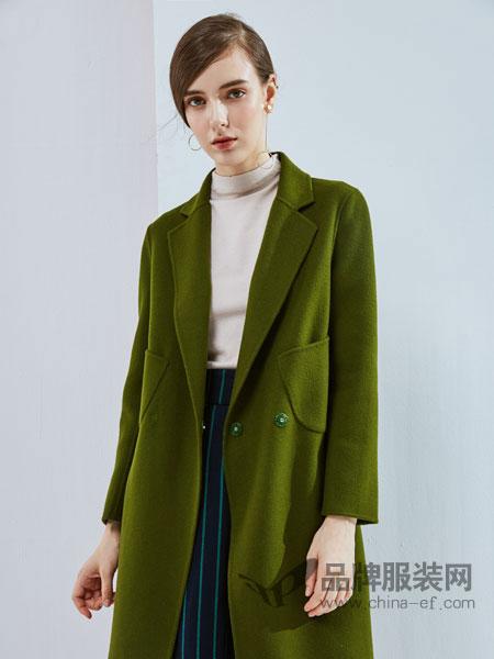 丹佛蒂欧 dovnertio女装新款显瘦气质中长款双面毛呢外套女