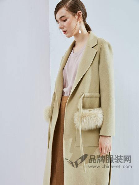 丹佛蒂欧 dovnertio女装新款欧美收腰双面呢大衣口袋狐狸毛大牌时尚女装外套