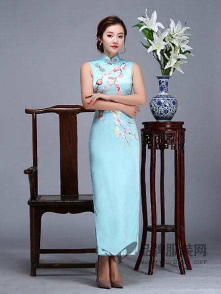 虞美记旗袍女装新款绣花花鸟无袖日常改良旗袍宴会长款蓝色时尚