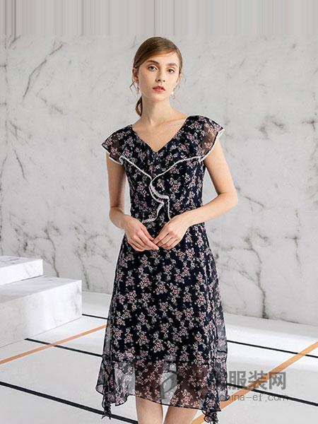 德菲蒂奥女装2018春夏 短袖修身中长款夏季名媛小个子显高气质高腰
