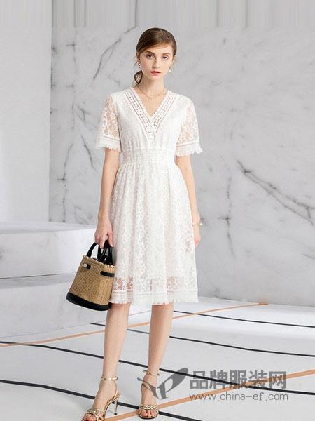德菲蒂奥女装2018春夏新款中长收腰士V领气质裙
