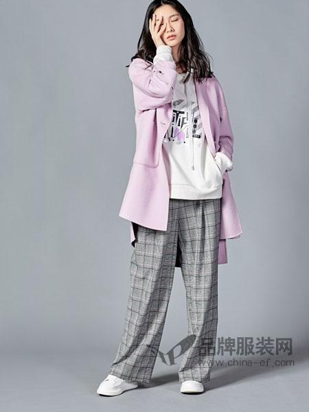 尚默女装2018秋冬棉质风衣简约长袖中长款外套