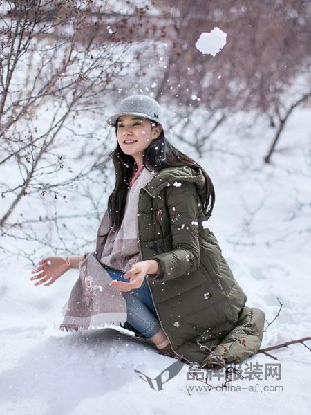 渔女装2018秋冬连帽修身显瘦女士韩版纯色羽绒服