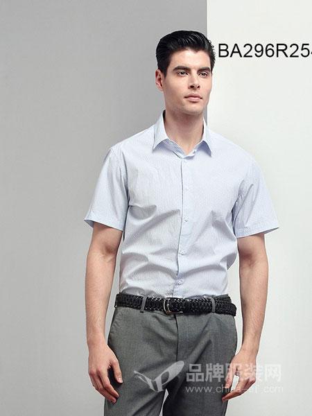 JAMES KINGDOM男装2018春夏衬衣全棉免烫修身短袖衬衫