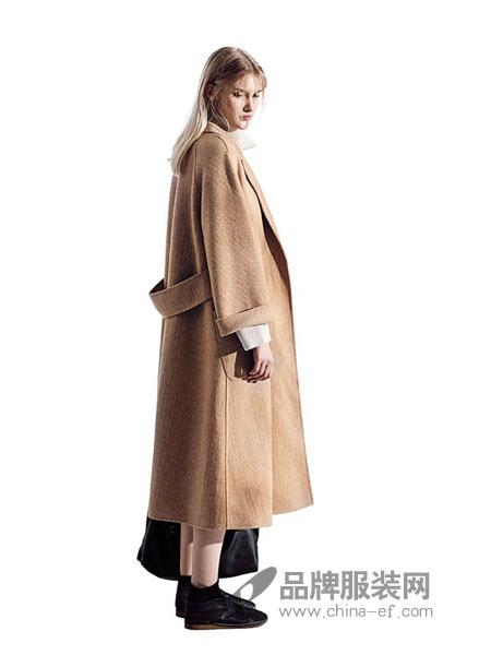 意澳女装2018秋冬韩版毛呢外套女中长款羊毛呢子韩国双面呢大衣