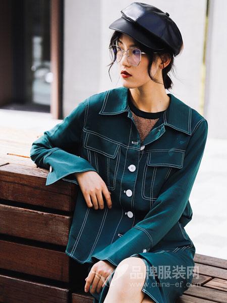 DOTACOKO女装2018春夏新款时尚双口袋翻领衬衫中长款外套女不规则