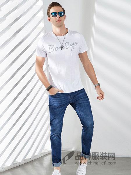 雷迪波尔男装2018春夏新品男士时尚休闲圆领短袖纯色T恤潮