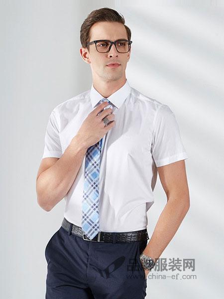 雷迪波尔男装2018春夏新品男士商务正装白色短袖衬衫