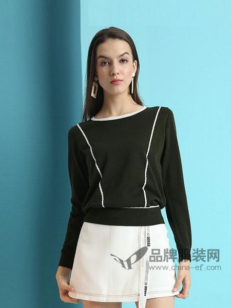 雅意娜菲女装2018春夏新款春季天丝长袖纯色针织女韩版毛衣