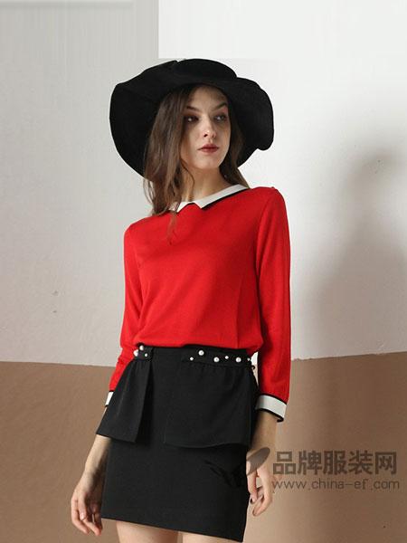 雅意娜菲女装2018春夏天丝清新黑白撞色针织翻领毛衣衫