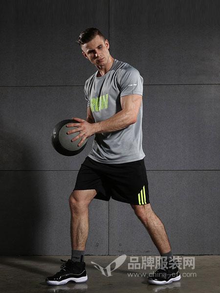 西域骆驼男装2018春夏短袖透气健身服两件套篮球运动服装速干跑步套装男