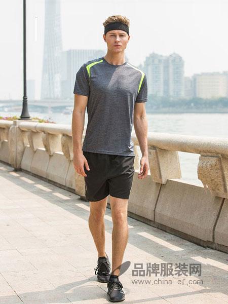 西域骆驼男装2018春夏透气速干套装跑步健身短裤短袖时尚休闲运动套装男