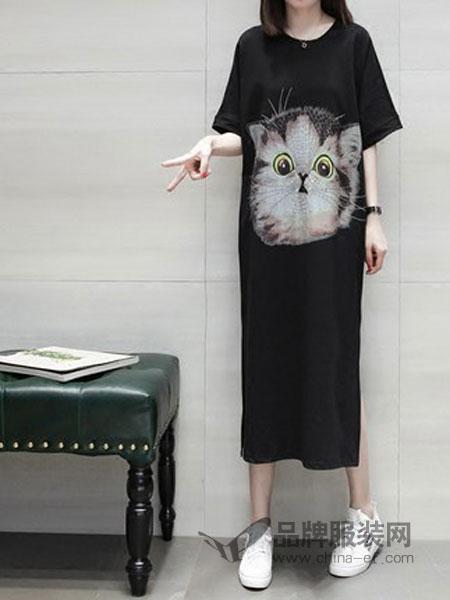 恋习女装2018夏季猫咪印花短袖T恤连衣裙女宽松个性潮流开叉中长款裙子