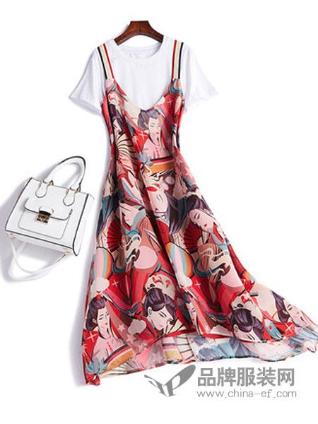 恋习女装2018夏季新款套装甜美气质淑女短袖T恤吊带连衣裙子女时尚两件套