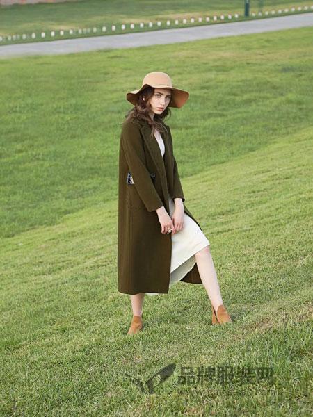 司合伊女装2018秋冬新品娃娃领甜美中长款双面羊绒大衣