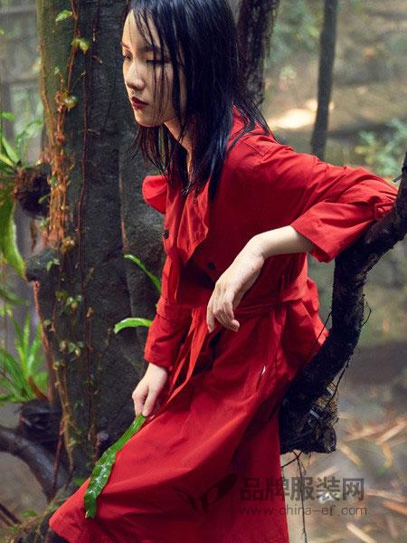 DY读衣拾年女装2018秋冬红色长裙女修身显瘦7分袖大摆连衣裙