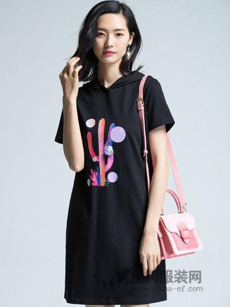优衣美女装2018秋季休闲连帽T恤裙