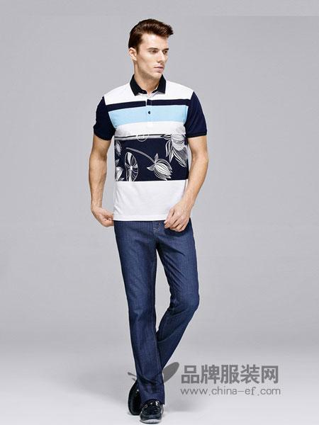 佛伦斯男装2018春夏撞色印花蓝色短袖T恤