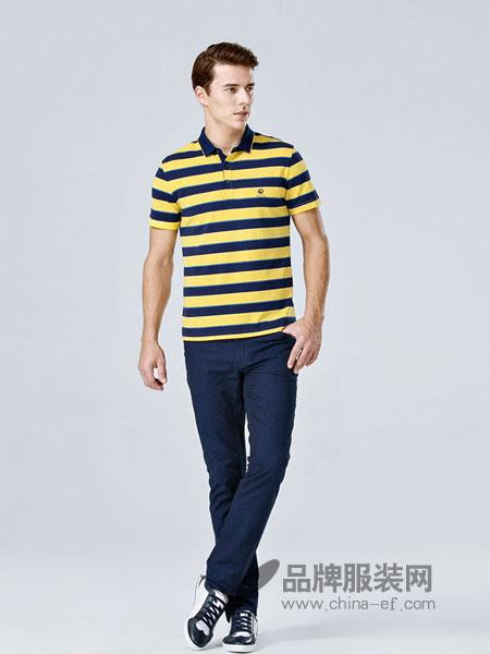 佛伦斯男装2018春夏新款短袖纯棉t恤男士条纹中年翻领