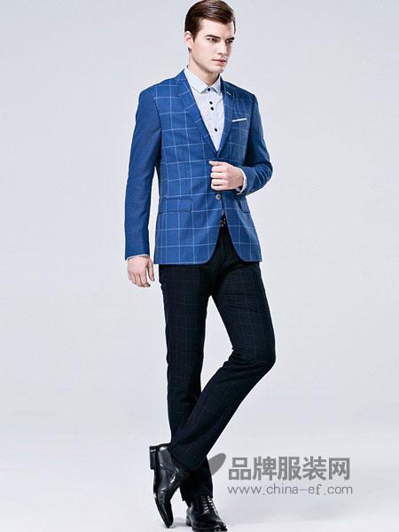 佛伦斯男装2018春夏蓝格子纹羊毛休闲西服
