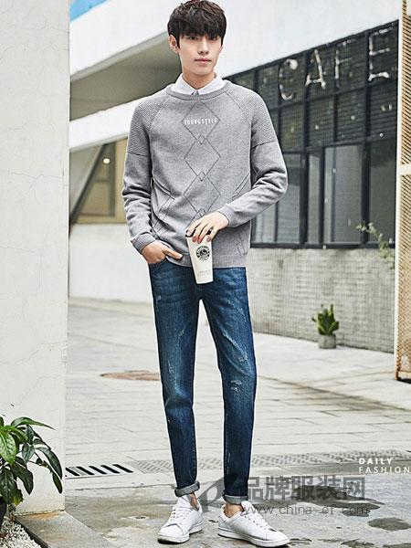 衣品天成男装2018春夏纯棉圆领青少年韩版潮流个性针织衫