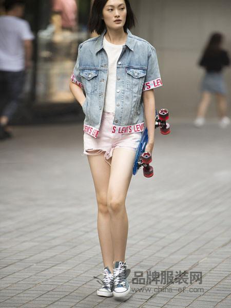 李维斯女装2018夏季短袖牛仔夹克