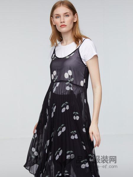玛革诺施女装2018夏季网纱吊带裙