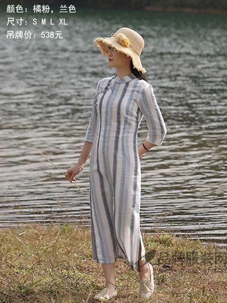 古时旧京女装2018夏季新款民国风改良坚条连衣裙中长款