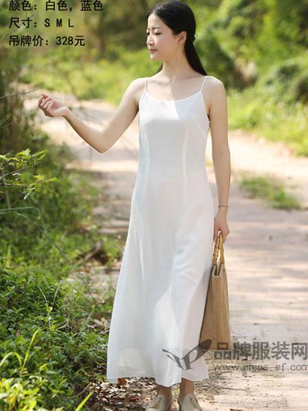 古时旧京女装2018夏季白色v领连衣裙女缎面抹胸收腰裙子高腰气质吊带裙