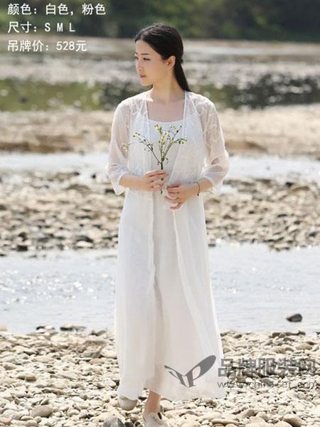 古时旧京女装2018夏季新款七分袖文艺连衣裙白色仙女风刺绣大摆裙