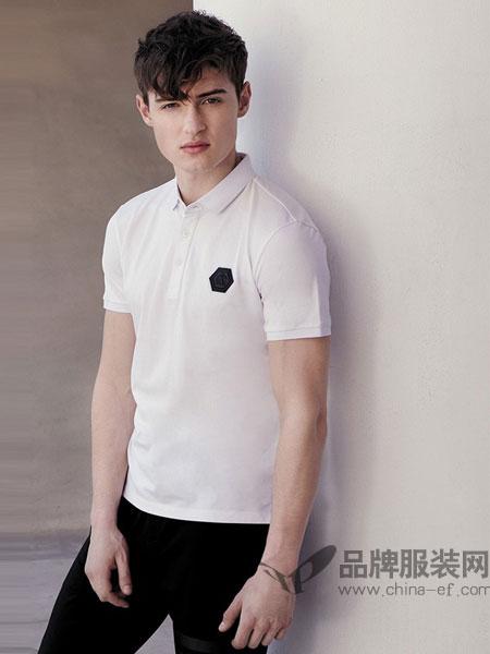杰克斯男装2018春夏新款桑蚕丝刺绣翻领短袖T恤男修身上衣白色POLO衫