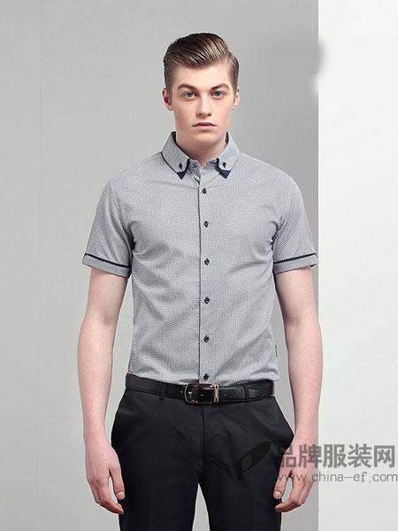 JAMES KINGDOM男装2018春夏新品男士短袖衬衫时尚修身印花衬衣