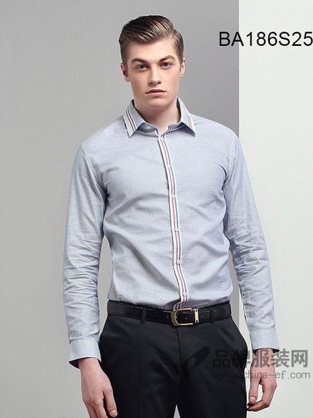 JAMES KINGDOM男装2018春夏男士衬衫长袖韩版修身商务牛津纺纯色衬衫