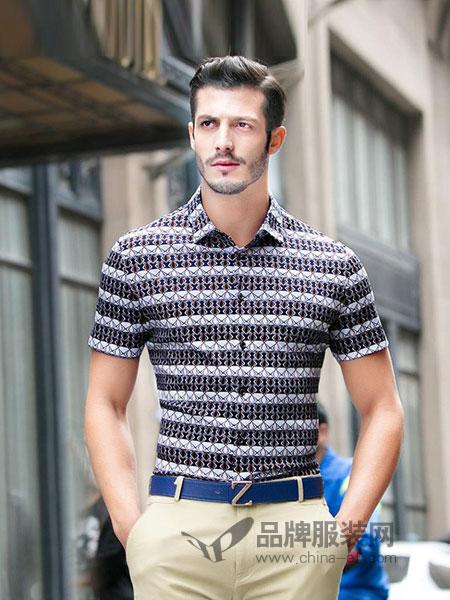 皇家绅贵男装2018夏季修身丝光棉印花短袖衬衫