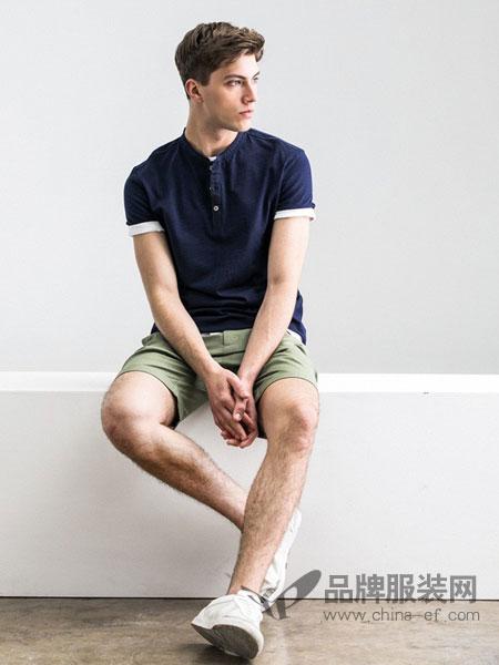 棉先生男装2018春夏时尚纯色小领男士长袖T恤宽松v领