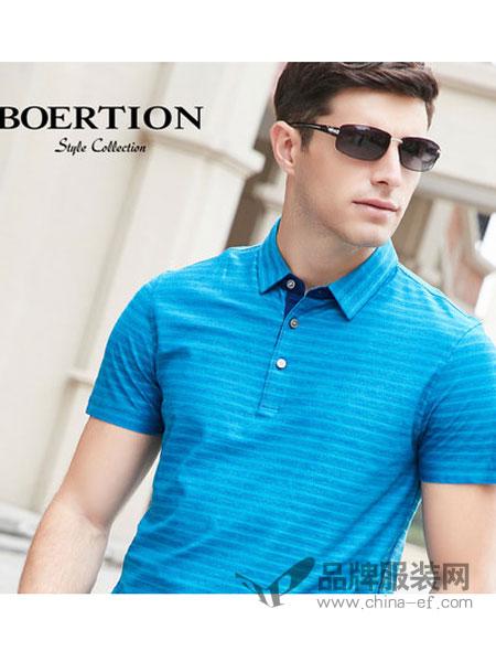 博尔顿时尚商务男装带领t恤男短袖桑蚕丝2018中年蓝色条纹夏翻领polo衫
